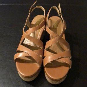 Reba brand leather cork wedge sandals size 8.5